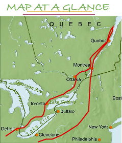 French Canada R J Tours - Mountains in canada map