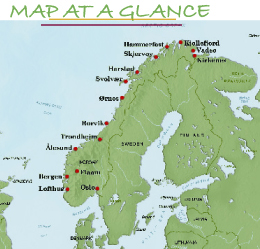 Norway Coastal Voyage R J Tours - Norway map highlights